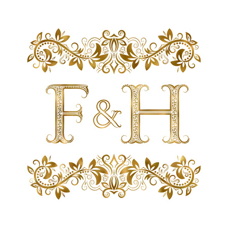 F and H vintage initials logo symbol. The letters are surrounded by ornamental elements. Wedding or business partners monogram in royal style.