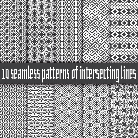 Vector set of abstract seamless patterns. Ten swatches of white lines on black backgrounds.
