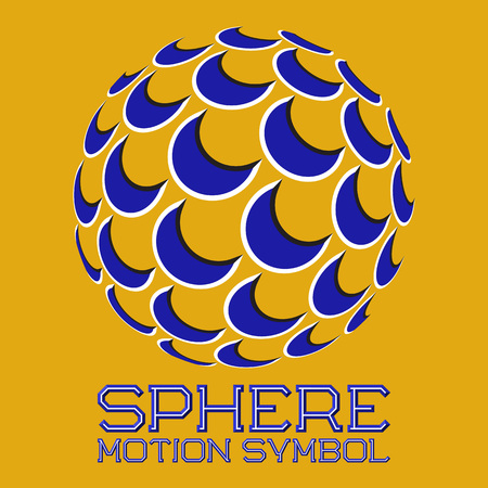 Abstract logo symbol in motion sphere shape on yellow background. Blue emblem with moving crescents.