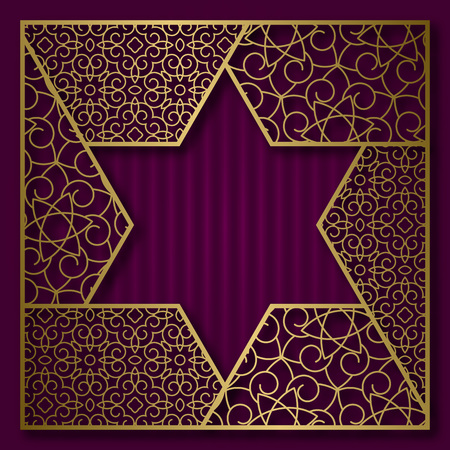 Golden cover background with traditional patterned frame in six pointed star form.