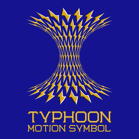 Abstract logo symbol in motion typhoon shape on blue background. Yellow emblem with moving lightning.