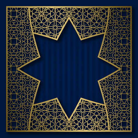 Golden cover background with traditional patterned frame in eight pointed star form.