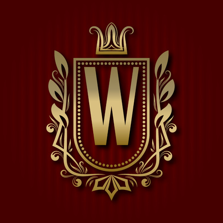 Golden royal coat of arms in medieval style. Vintage logo with W monogram. Illustration