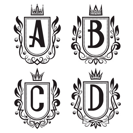 Royal coat of arms set in medieval style. Vintage logos with A, B, C, D monogram. Illustration