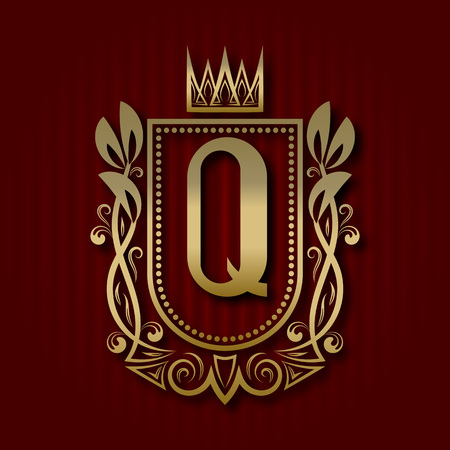 Golden royal coat of arms in medieval style. Vintage logo with Q monogram. Stock Vector - 110863261