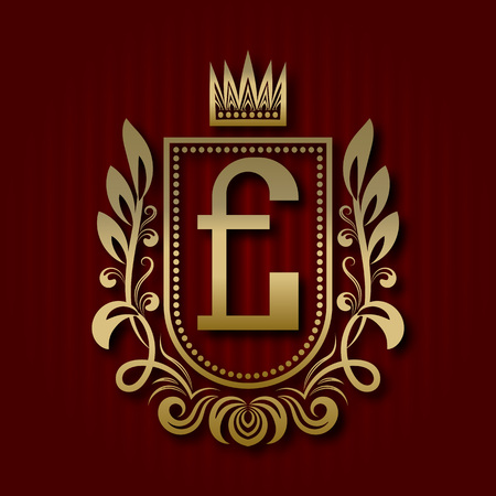 Golden royal coat of arms in medieval style. Vintage logo with E monogram. Illustration