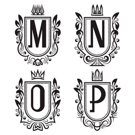 Royal coat of arms set in medieval style. Vintage logos with M, N, O, P monogram.