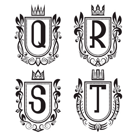 Royal coat of arms set in medieval style. Vintage logos with Q, R, S, T monogram.