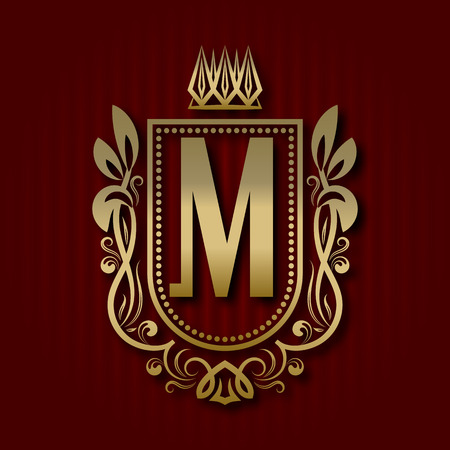 Golden royal coat of arms in medieval style. Vintage logo with M monogram.