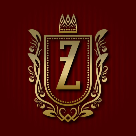 Golden royal coat of arms in medieval style. Vintage logo with Z monogram. Illustration