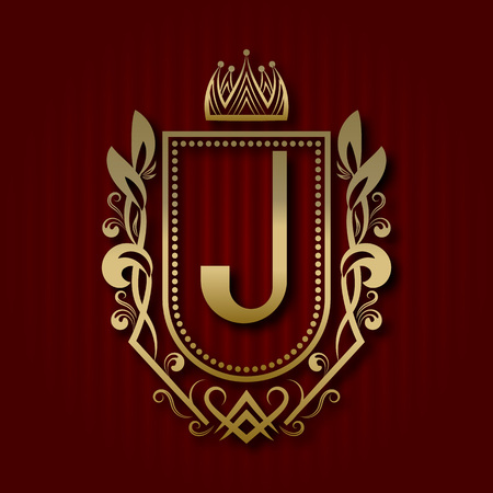 Golden royal coat of arms in medieval style. Vintage logo with J monogram. Illustration