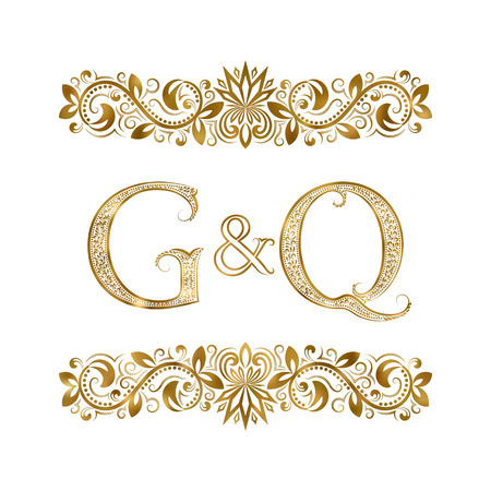 G and Q vintage initials logo symbol. The letters are surrounded by ornamental elements. Wedding or business partners monogram in royal style.