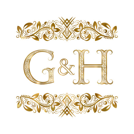 G and H vintage initials logo symbol. The letters are surrounded by ornamental elements. Wedding or business partners monogram in royal style.