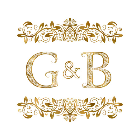 G and B vintage initials logo symbol. The letters are surrounded by ornamental elements. Wedding or business partners monogram in royal style.