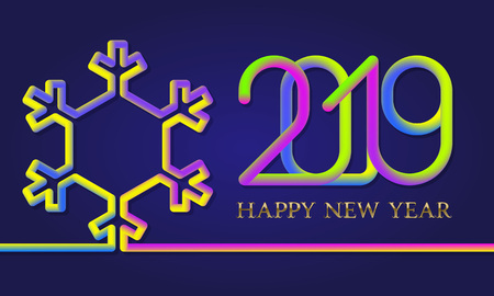 2019 Happy New Year colorful inscription lettering with fluid colors snowflake silhouette. Holiday greeting card design. Illusztráció