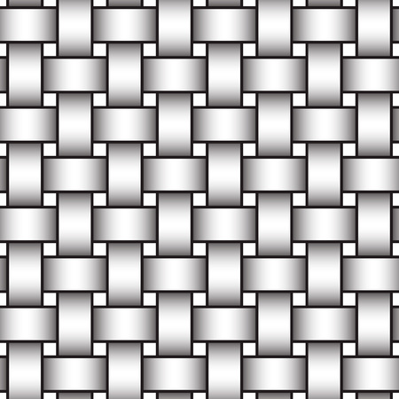 Abstract repeatable pattern background of white braided strips with black strokes. Swatch of intertwined straight bands. Volumetric seamless pattern in modern style.