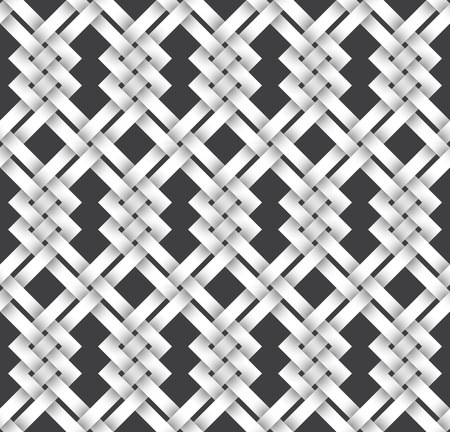 Abstract repeatable pattern background of white twisted strips. Swatch of intertwined zigzag bands. Volumetric seamless pattern in modern style. Stock Vector - 114655275