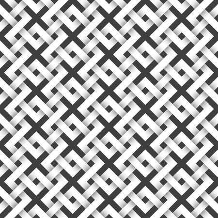 Abstract repeatable pattern background of white twisted strips. Swatch of intertwined zigzag bands. Volumetric seamless pattern in modern style. Illustration