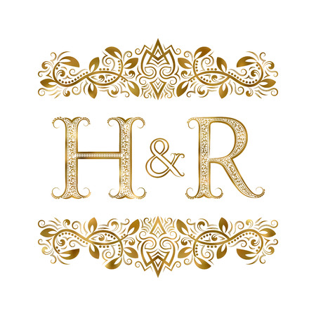H and R vintage initials logo symbol. The letters are surrounded by ornamental elements. Wedding or business partners monogram in royal style. Illustration