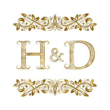 H and D vintage initials logo symbol. The letters are surrounded by ornamental elements. Wedding or business partners monogram in royal style. Illustration