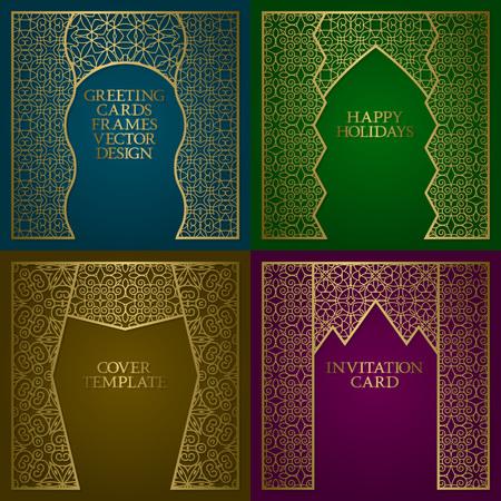 Greeting cards golden frames set. Vintage design of template in asian style.