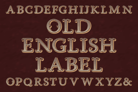 Old english label typeface. Striped letters, isolated alphabet. Illustration