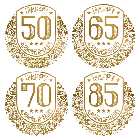 Happy anniversary emblems set. Vintage golden stamps for festive greetings and invitations. Stock Vector - 126665501