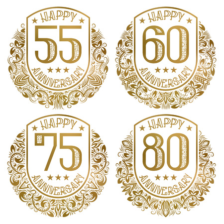 Happy anniversary emblems set. Vintage golden stamps for festive greetings and invitations. Ilustración de vector