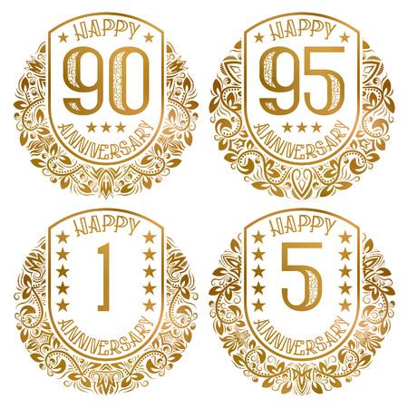 Set di emblemi di buon anniversario. Francobolli dorati vintage per saluti e inviti festivi.