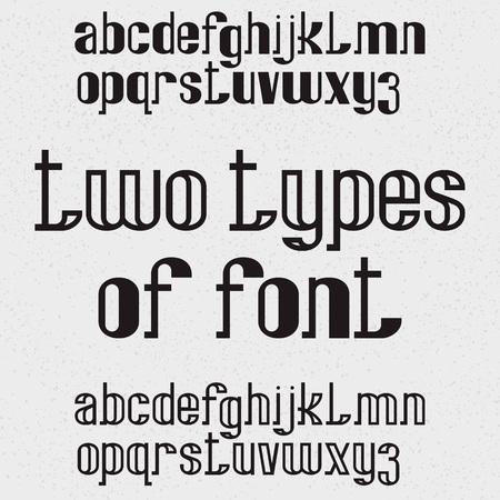 Dos tipos de fuente: completa y hueca. Letras minúsculas negras. Alfabeto inglés aislado.