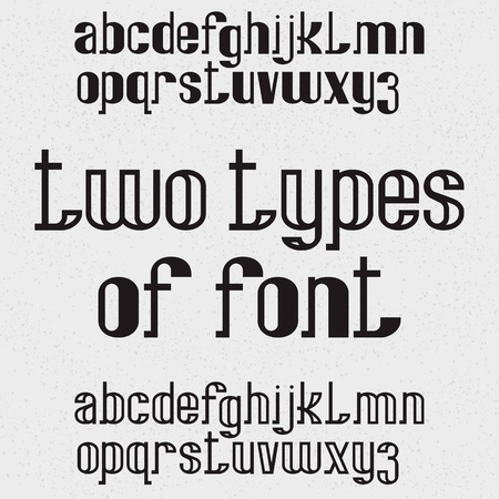 Due tipi di carattere: pieno e vuoto. Lettere minuscole nere. Alfabeto inglese isolato.