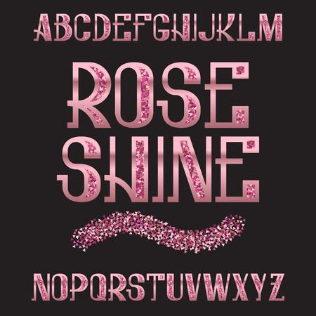 Rose Shine typeface. Pink gold glittering font. Isolated ornate english alphabet. Vettoriali