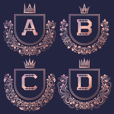 Rose gold coat of arms set in baroque style. Vintage logos with A, B, C, D monogram. Stock Illustratie