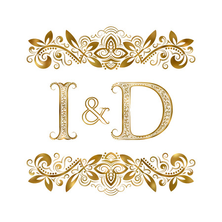 I and D vintage initials symbol. The letters are surrounded by ornamental elements. Wedding or business partners monogram in royal style.