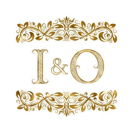 I and O vintage initials symbol. The letters are surrounded by ornamental elements. Wedding or business partners monogram in royal style.