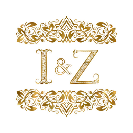 I and Z vintage initials symbol. The letters are surrounded by ornamental elements. Wedding or business partners monogram in royal style.
