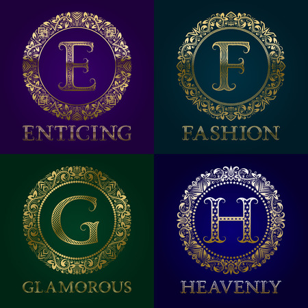 Golden templates for enticing, fashion, glamorous, heavenly Vector monograms set.