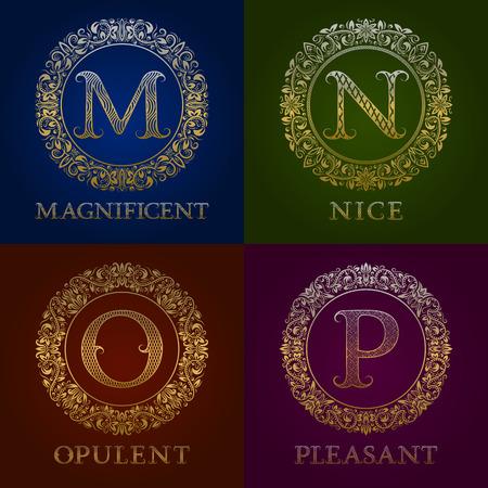 Golden templates for magnificent, nice, opulent, pleasant Vector monograms set.