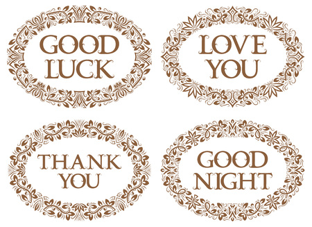 Vintage oval frames set with different inscriptions. Good luck, love you, thank you, good night.