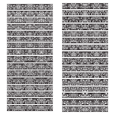 Black white vintage vector brushes big set. Borders templates kit for frames design and page decorations.