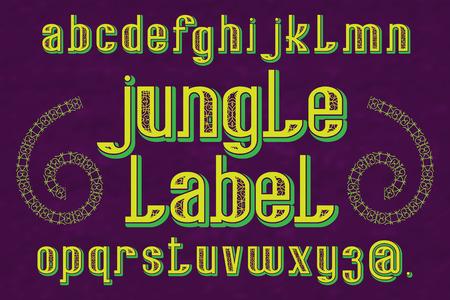 Jungle Label typeface. Decorative font. Isolated english alphabet. Ilustrace