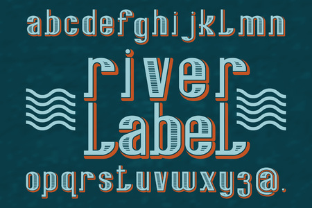 River Label typeface. Retro font. Isolated english alphabet. Stock Illustratie