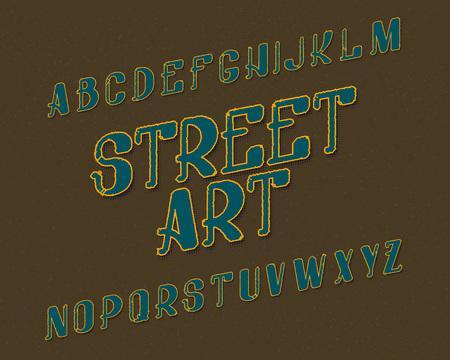 Street Art typeface. Urban font. Isolated english alphabet.
