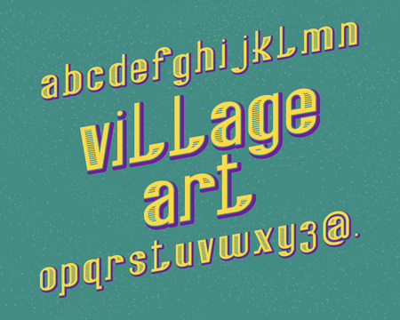 Village Art typeface. Retro font. Isolated english alphabet.