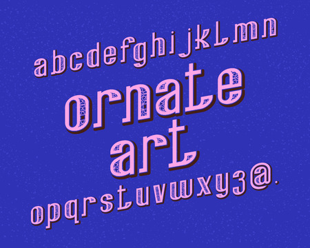 Ornate Art typeface. Decorative font. Isolated english alphabet.