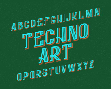 Techno Art typeface. Retro font. Isolated english alphabet.