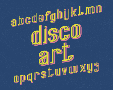 Disco Art typeface. Retro font. Isolated english alphabet. Illustration