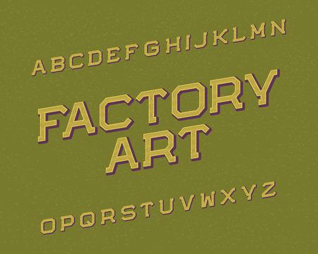 Factory Art typeface. Retro font. Isolated english alphabet. Ilustrace