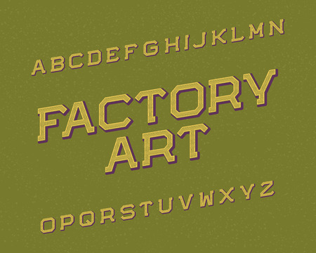 Factory Art typeface. Retro font. Isolated english alphabet. Illustration