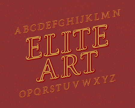 Elite Art typeface. Vintage font. Isolated english alphabet. Illustration